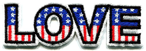 Love American flag retro boho hippie 70s weed stars and stripes embroidered applique iron-on patch new