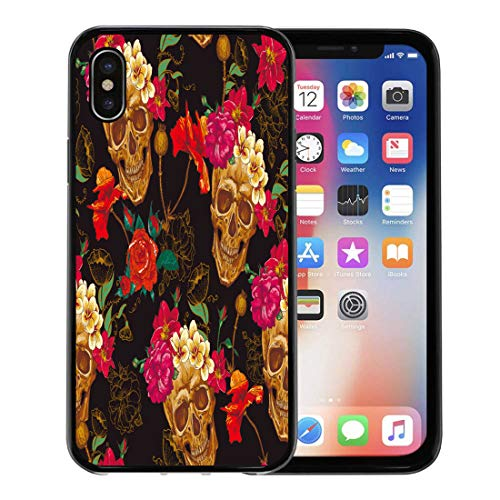 Semtomn Phone Case for Apple iPhone Xs case,Red Pattern Skull and Flowers Colorful Tattoo Floral Gothic Vintage for iPhone X Case,Rubber Border Protective Case,Black ()