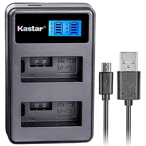 Kastar LCD Dual Slim Charger for Canon LP-E5 LPE5 and Canon EOS Rebel XS, Rebel T1i, Rebel XSi, 1000D, 500D, 450D, Kiss X3, Kiss X2, Kiss F digital camera, BG-E5 grip