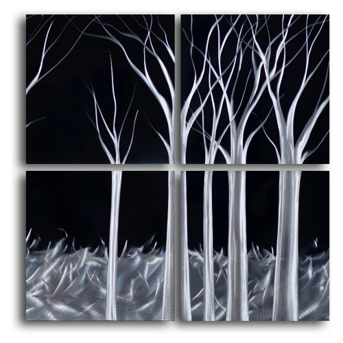 picture of Omax Titanium Forest 4-Piece Handmade Metal Wall Art Set, Black
