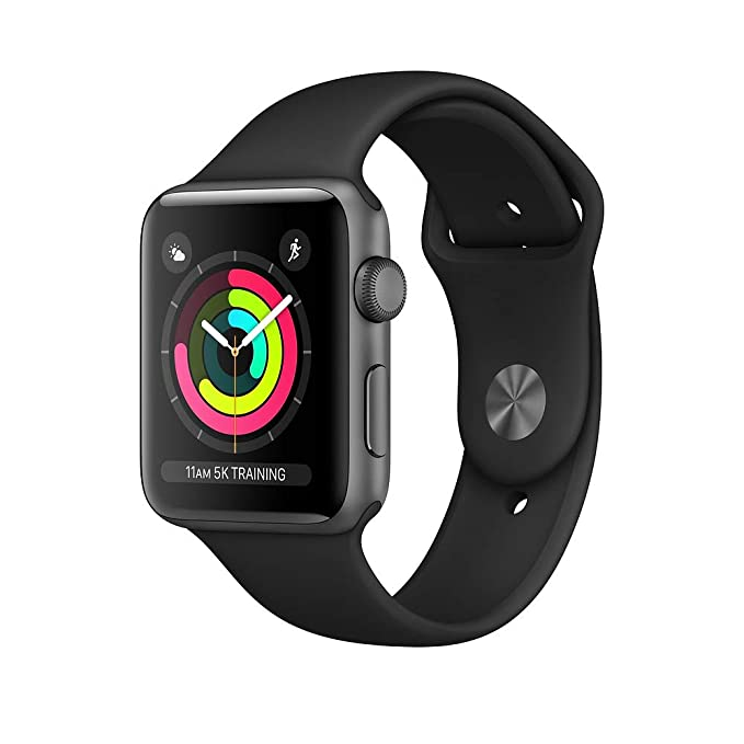 Apple Watch Series 3 (42mm, Space Gray Aluminum Case with Black Sport Band - GPS Only) (Renewed)