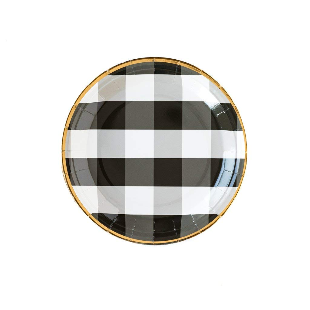 Rustic Wedding Decorations Paper Plates Dinner Plates Buffalo Plaid Modern Farmhouse Decor Black Party Decorations Disposable Plates 9'' Round Pk 24
