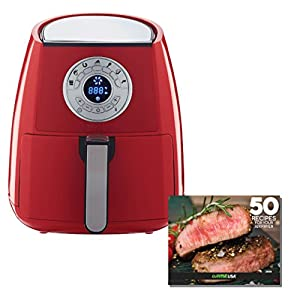 GoWISE USA 3.7-Quart 7-in-1 Air Fryer with 7 Cook Presets + 50 Recipes for your Air Fryer (Chili Red)