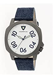 Morphic Men's 'M41 Series Canvas with Backing Strap' Quartz Stainless Steel and Leather Watch, Color:Navy (Model: MPH4106)