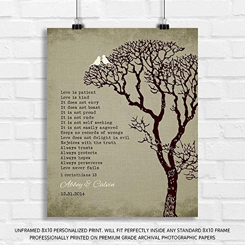 Personalized Gift for 10th Wedding for Couple 1 Corinthians 13 Love is Patient Faux Texture Background White Love Birds Carved Initials - 8x10 Unframed Paper Art Print