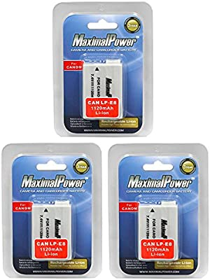 MaximalPower Battery 3-Pack for Canon LP-E8 Batteries. Fits EOS Rebel T5i T4i T3i T2i & 700D 650D 600D 550D: Amazon.es: Electrónica