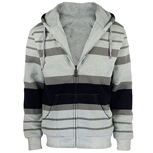 Fleece Lined Hoody - Fashion Stripe Sherpa Fleece Lined Hoodies For Men Zip Up Big and Tall Zipper Cool Fishing Sweatshirt On Sale
