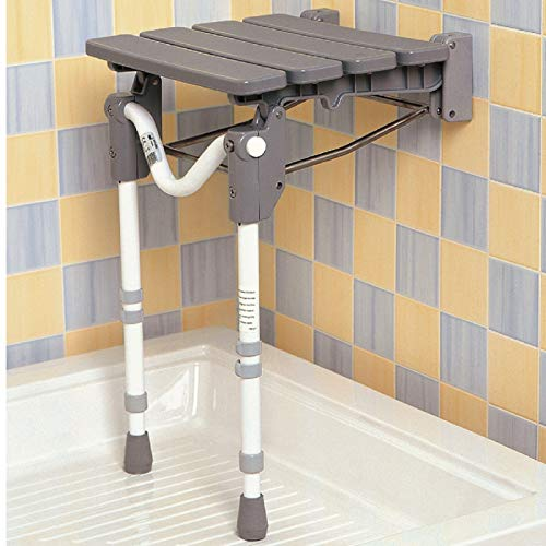 Homecraft Tooting Shower Seat, Ergonomic Shower Chair Folds When Not in Use, Non-Slip Feet, Adjustable Height Comfort Stool for Prolonged Seating for Bathrooms, Slatted or Padded Seat, Wall Mounted