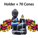 Incense Burner Backflow Set Mixed Aromatherapy Tower Cones Sticks Holder Ceramic Waterfall Buddha Monk Ash Catcher -IN007 Blue (70 Variety Cones& Holder)