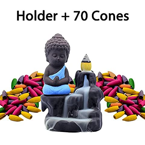 Incense Burner Backflow Set Mixed Aromatherapy Tower Cones Sticks Holder Ceramic Waterfall Buddha Monk Ash Catcher -IN007 Blue (70 Variety Cones& - Incense Set