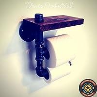 Dispensador doble de papel higiénico estilo industrial con base de madera en la parte superior ensamblado a mano en tubería de hierro al carbono de media pulgada. Baño restaurante casa estudio