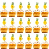 Gejoy 100 Pieces 3D Tropical Pineapple Cupcake Toppers Food Picks for Cocktail Luau Hawaii Party Decoration Supplies