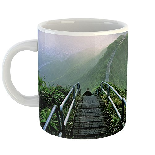 Westlake Art - Mountain Hiking - 11oz Coffee Cup Mug - Modern Picture Photography Artwork Home Office Birthday Gift - 11 Ounce (2B41-2AF41) (Pinnacle Grass Green)