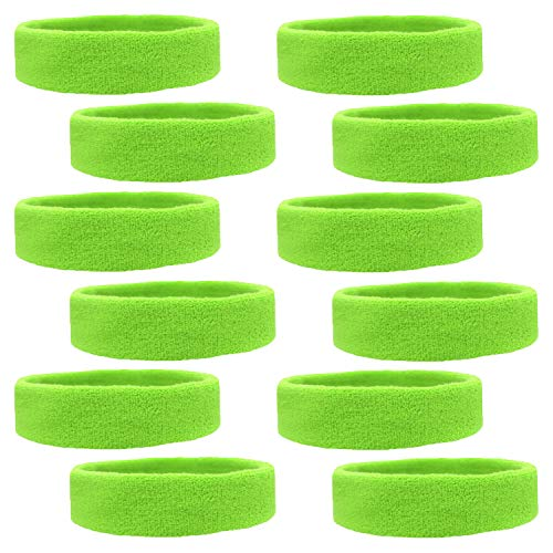 Kenz Laurenz 12 Sweatbands Cotton Sports Headbands Terry Cloth Moisture Wicking Athletic Basketball Headband (12 Pack - Neon -