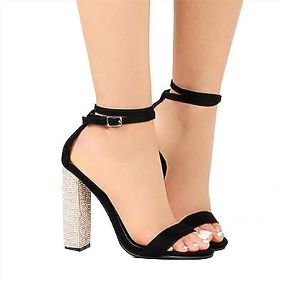 Sandales   Damens Sexy Chunky High Heels Sandales  Diamond Decor 44f81d
