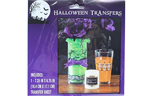 Halloween Transfer Skeleton Tombstones Rub Ons Candles Glass DIY (Pack of 2)