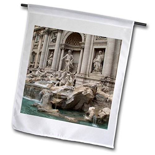 3dRose fl_47792_1 Trevi Fountain in Rome, Italy-Places to Travel Garden Flag, 12 by 18-Inch