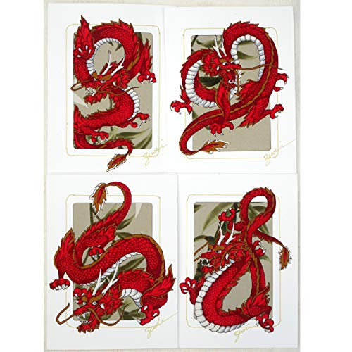 Original Fabric Collage Greeting Cards, Set of 4 Different Red Dragon Designs, Good Luck ()