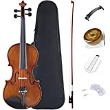 ADM Violin 4/4 Full Size Solidwood Ebony Fitted Violin Kit with Professional Violin Case, Advanced Rosin, Extra Violin Strings, Shoulder Rest, Matte Brown