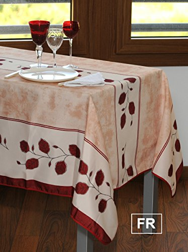 Ordinaire Rectangular Tablecloth Autumn Beige Red Leaf, Stain Resistant, Washable,  Liquid Spills Bead Up (Size Available: 63u2033 Round, 60 X 80u2033, 60 X 95u2033, 60 X  120u2033)