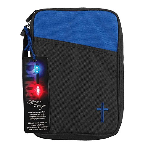 Police Officer's Prayer Blue and Black Canvas Bible Cover Case with Handle, Thinline