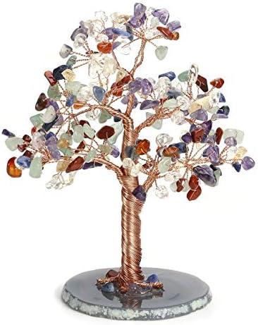 CrystalTears Edelstein Baum des Lebens Dekoration Wire Wrap Trommelsteine mit Achatscheibe Basis Feng Shui Lebensbaum Geldbaum Glückbaum Tisch Büro Deko Wohnkultur (7 Chakra)