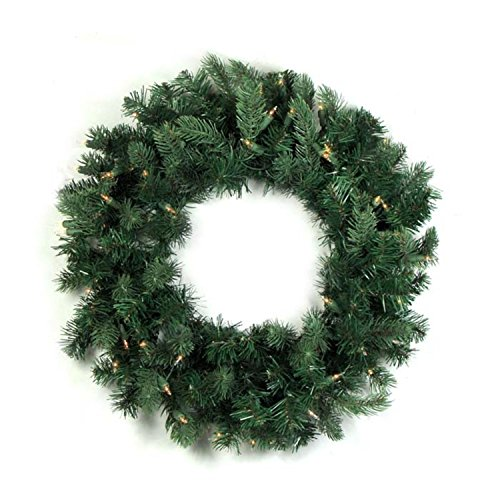 Vickerman Pre-Lit Natural Frasier Fir Artificial Christmas Wreath with Clear Dura Lights, 24