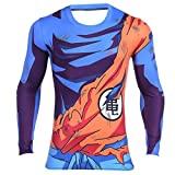 AestheticCosplay Goku Dragon Ball Z Men's Compression T-Shirt Muscle Tshirt | Short Sleeve & Long Sleeve Tshirt Super Saiyan (Long Sleeve, Large)