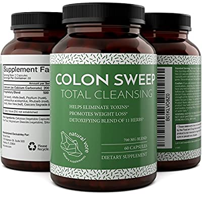 Colon Cleanse Detox With Psyllium Husk + Alfalfa + Rhubarb + Aloe Vera + Oat - Immune System Booster - Enhance The Digestive System - Colon Cleanse Weight Loss By Natural Vore