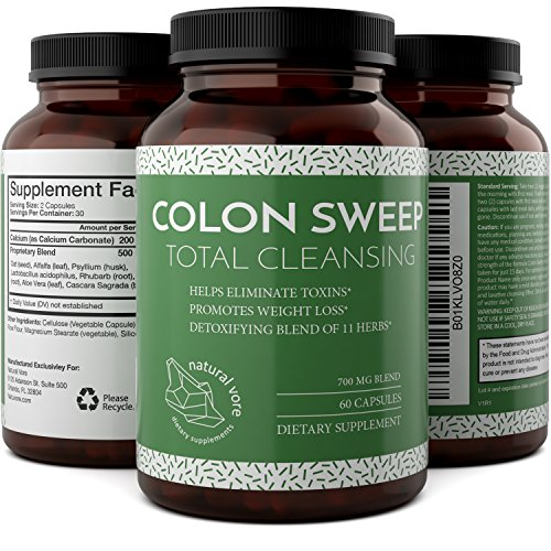 Natural And Pure Colon Cleanse Detox Supplements With Bentonite + Calcium + Psyllium Husk - Boost The Digestive System And Enhance The Immune System - Colon Cleanse Pills With Alfalfa By Natural Vore by Natural Vore