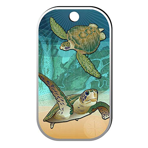 BSARRE Custom ID Pet Tag Double Sided Stainless Steel Square Necklaces Dog Tag Pendant Coastal Sea Turtle of The -