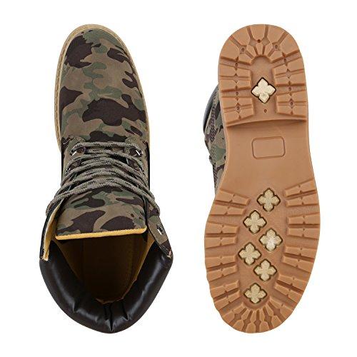 Stiefelparadies Damen Herren Unisex Worker Boots Profil Robuste Stiefeletten Outdoor Schuhe Glitzer Schnürer Print Schuhe Übergrößen Flandell Camouflage Grün