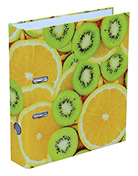 Diseño Carpeta archivador, A4, lomo de 75 mm de ancho, Ancho carpeta mecanismo de palanca, diseño Fruits kiwis y naranjas: Amazon.es: Oficina y papelería