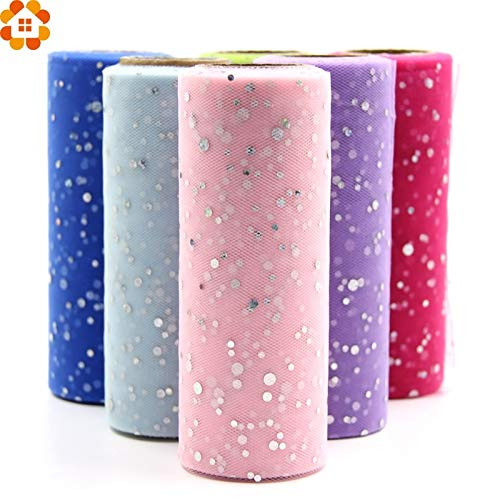 Tyro 10YardX15cm Glitter Sequin Tulle Roll Crystal Organza Sheer Gauze Element Table Runner&Home Garden/Wedding Party Decoration from Tyro