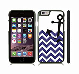 iStar Cases? iPhone 6 Plus Case with Chevron Pattern Navy Blue/ White Stripe Black Anchor , Snap-on Cover, Hard Carrying Case (Black)