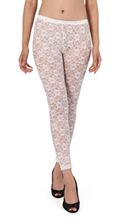 c5adac824d7ac Beau Corner Women's Floral Rosa Sheer Lace Leggings White: Amazon.co ...