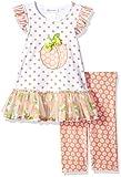 Bonnie Jean Little Girls' Appliqued Dress and Legging Set, Peach, 4