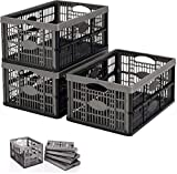 Smile-Packaging 10 Pack Of 32 Litre Fold Flat Stackable Storage Crate Basket Container With Carry Handles