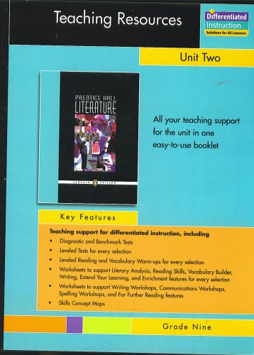 Workbook differentiated instruction worksheets : Teaching Resources, Unit Two, Short Stories, Grade Nine, Prentice ...