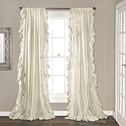 "Lush Decor Reyna Window Curtain Panel Pair, 84"" x 54"", Ivory"