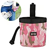 Yosoo- Dog Food Bag, 2Pack Waterproof Pets Puppy Walking Treat Training Pouch Snack Container Clip (Pink)