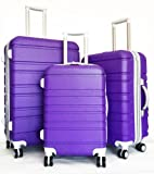 3pc Luggage Set Hardside Rolling 4 Wheel Spinner Upright Carryon Travel Purple