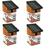 Garden Mile® 4x Traditional Wooden Garden Birdhouse Nesting Boxes With Green Hinged Roof For Easy Cleaning Predator Proof To Accomodate Small Birds Sparrows, Tits Robin Nester