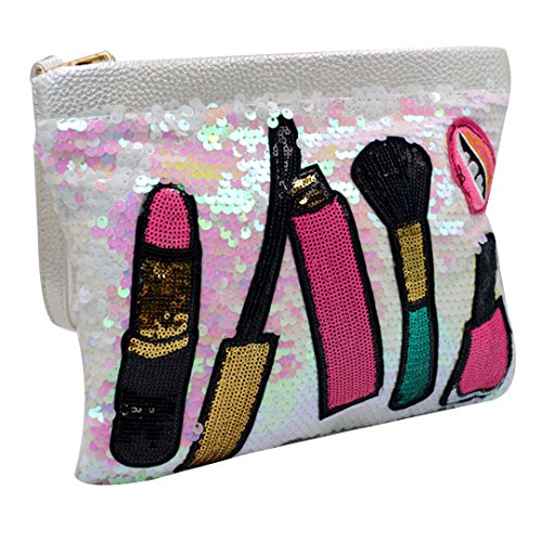 Ofila Women's Dazzling Sequins Clutch Bag Purse Zipper Shoulder Cross Body Bag Handbag White by Orfila