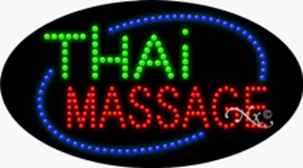 15x27x1 inches Thai Massage Animated Flashing LED Window Sign by Light Master