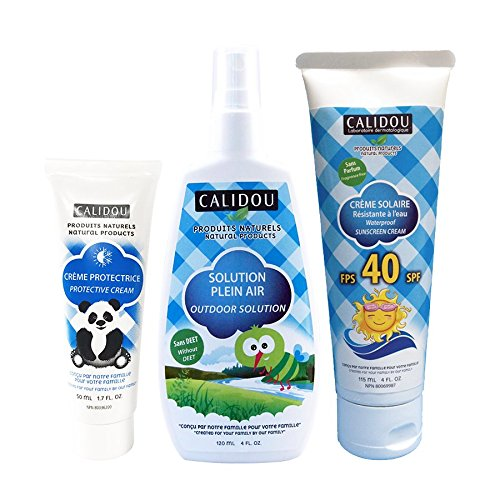 Summer Sale!!! CALIDOU Baby & Kids Complete Summer Trio Kit | Mineral Waterproof sunscreen (115ml) + Outdoor Solution Spray mostiquo & insect repellent (120ml) + All purpose Protective Cream (50ml) | All natural | Vegan | for sensitive skin