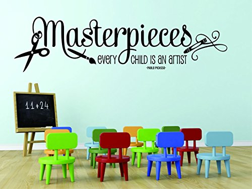 Design with Vinyl RAD 758 2 Masterpieces. Every Child Is An Artist. Pablo Picasso Quote Art Classroom Paint Brush Wall Decal, Black, 16 x 24