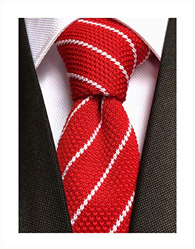 (Mens Casual Red White Woven Stripe Neck Ties Knit Formal Party Wedding Prom New Neckties Textured Distressed)