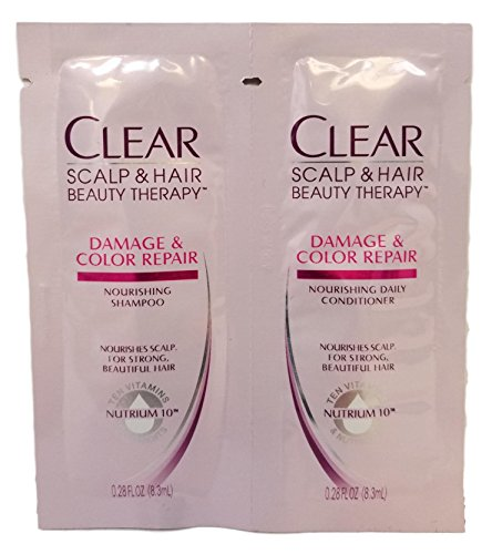 (Clear Moisturizing shampoo and conditioner daily single use packets, travel size, TSA approved, (Ten Vitamins and Nutrients) (6 Pack, Clear Beauty products))
