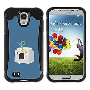 LASTONE PHONE CASE / Suave Silicona Caso Carcasa de Caucho Funda para Samsung Galaxy S4 I9500 / Milk Character Minimalist Blue